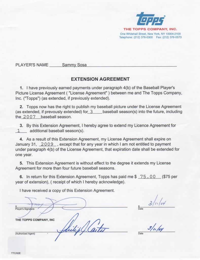 Sammy Sosa signed Topps contract extension