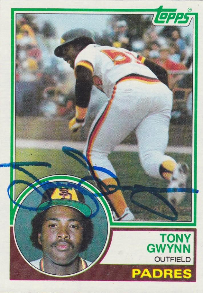 Autographed 1983 Topps rookie card of Tony Gwynn