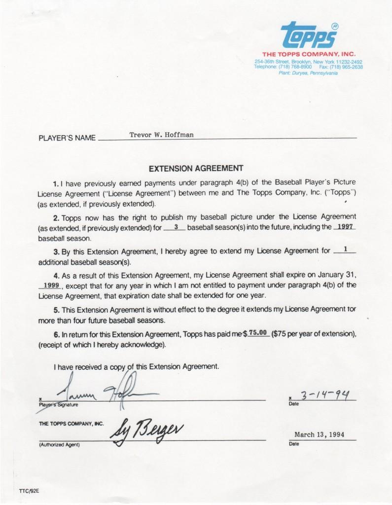 1994 Topps contract extending the terms through the 1999 season