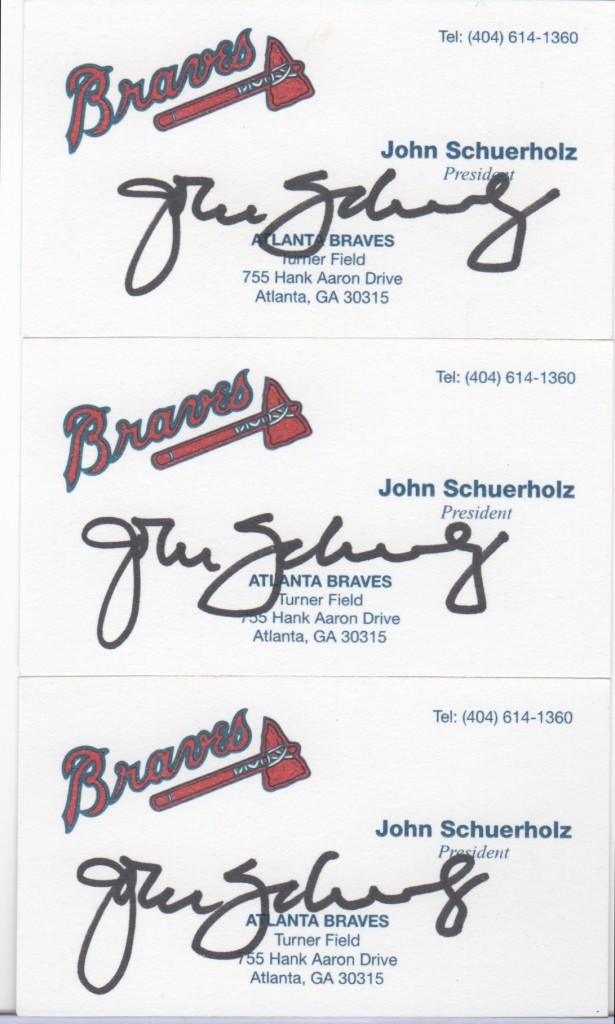John Schuerholz signed business cards as President of the Braves