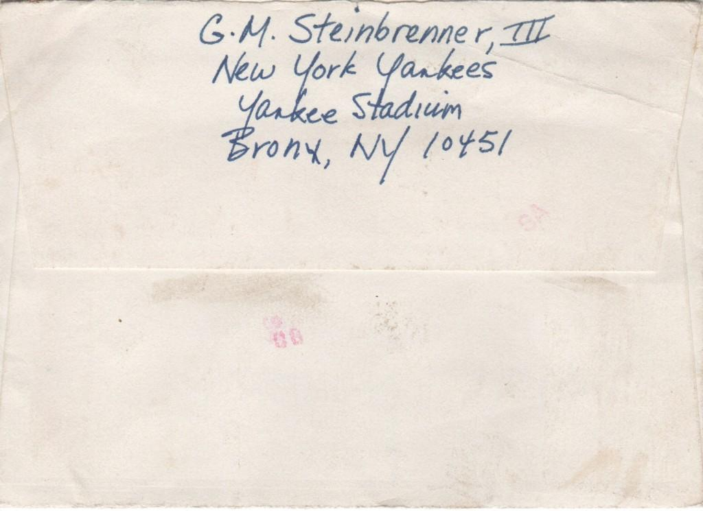Back of the envelope also in George Steinbrenner's hand