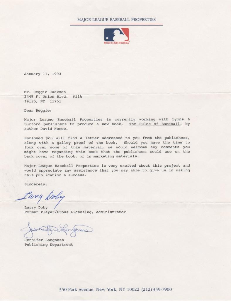 Letter from Larry Doby to fellow HoFer Reggie Jackson