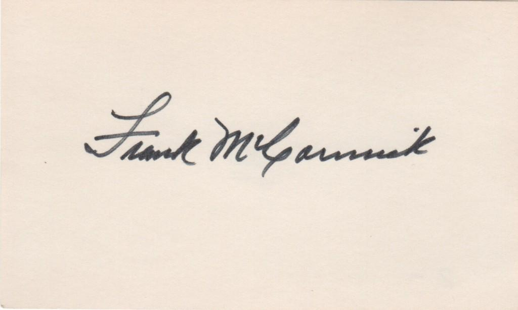 Frank McCormick autographed 3x5 card PSA/DNA certified