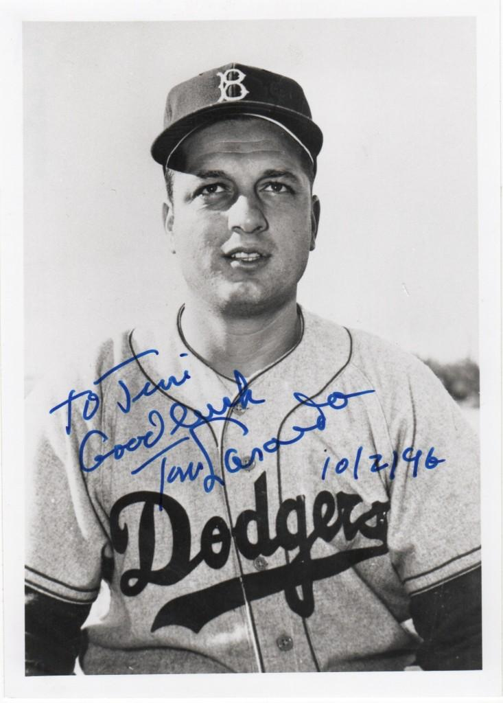 Autographed picture of a young Tommy Lasorda
