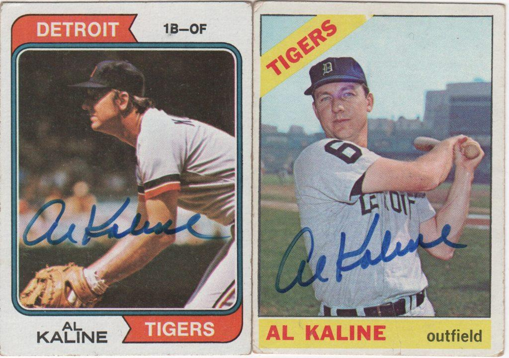 A pair of autographed Al Kaline Topps card
