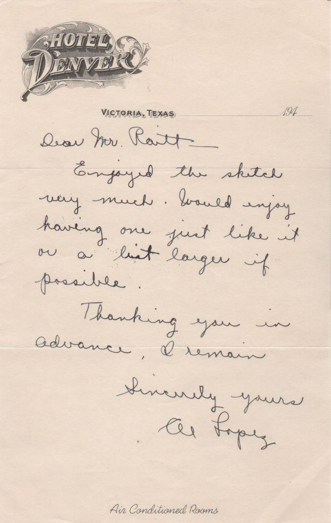 Handwritten letter from Lopez to the artist