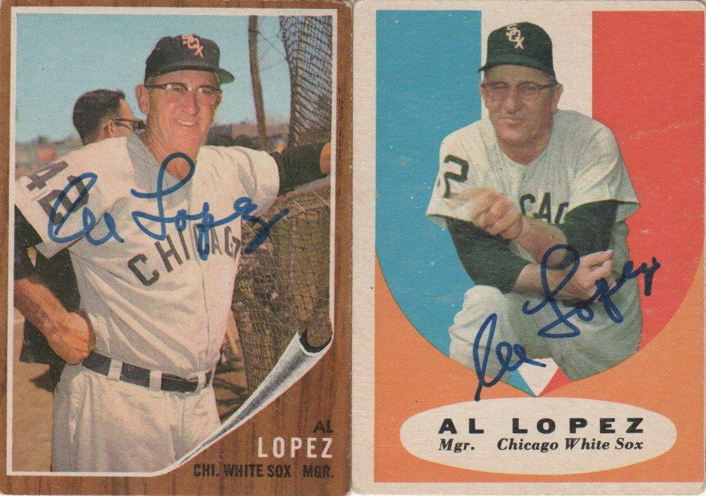A pair of baseball cards autographed by Al Lopez