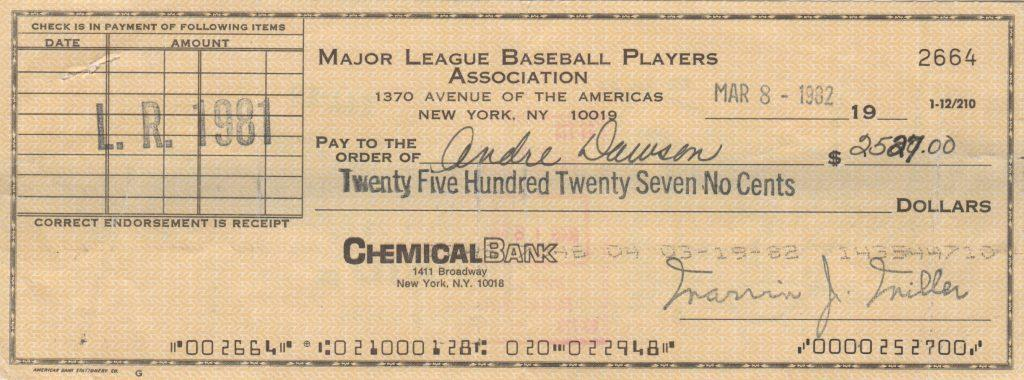 MLBPA check made out to and endorsed by Dawson