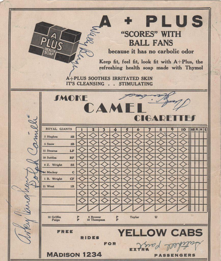 1935 PCL scorecard signed by Satchel Paige and others