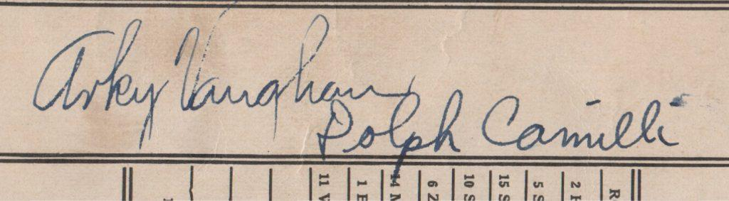 Closeup of the Arky Vaughan signature