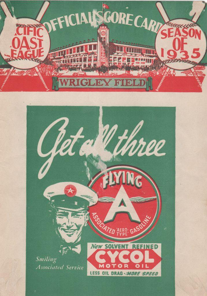 Other side of the 1935 PCL game-day scorecard