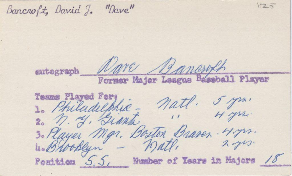 Dave Bancroft signed 3x5 information card