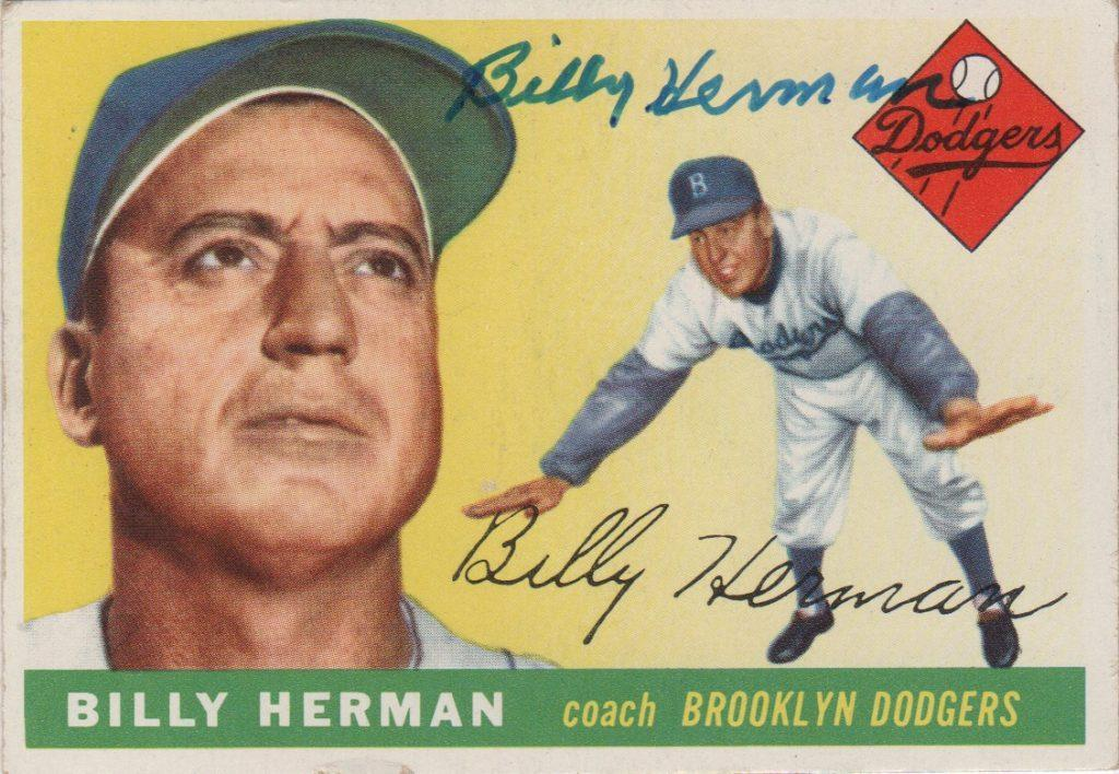 Topps gave Billy Herman his own baseball card in 1955 - as a third base coach