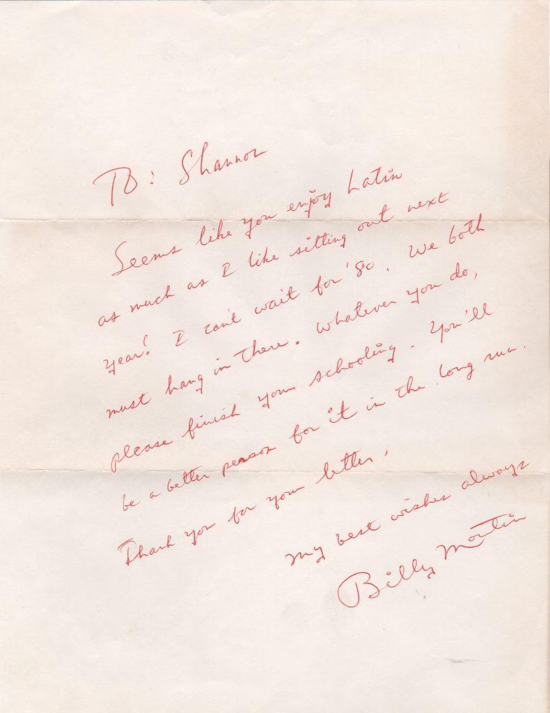 Billy Martin handwritten letter