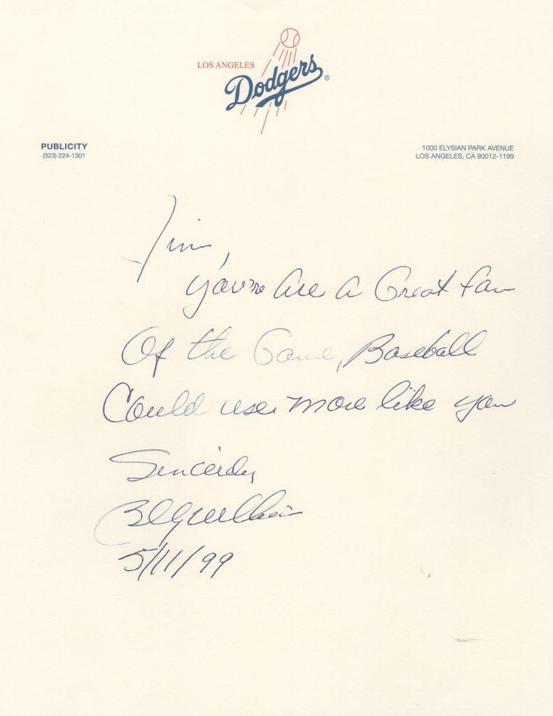 Handwritten letter from 5/11/1999