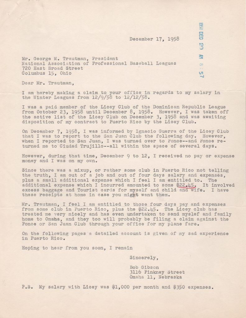 Gibson files a dispute from his time in the Dominican in 1958