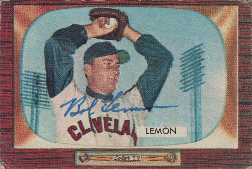 1955 Bowman autographed card of Bob Lemon