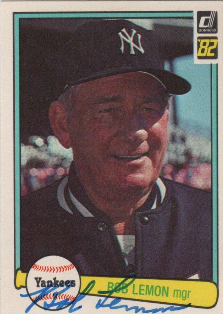 Bob Lemon autograph card as manager of the Yankees