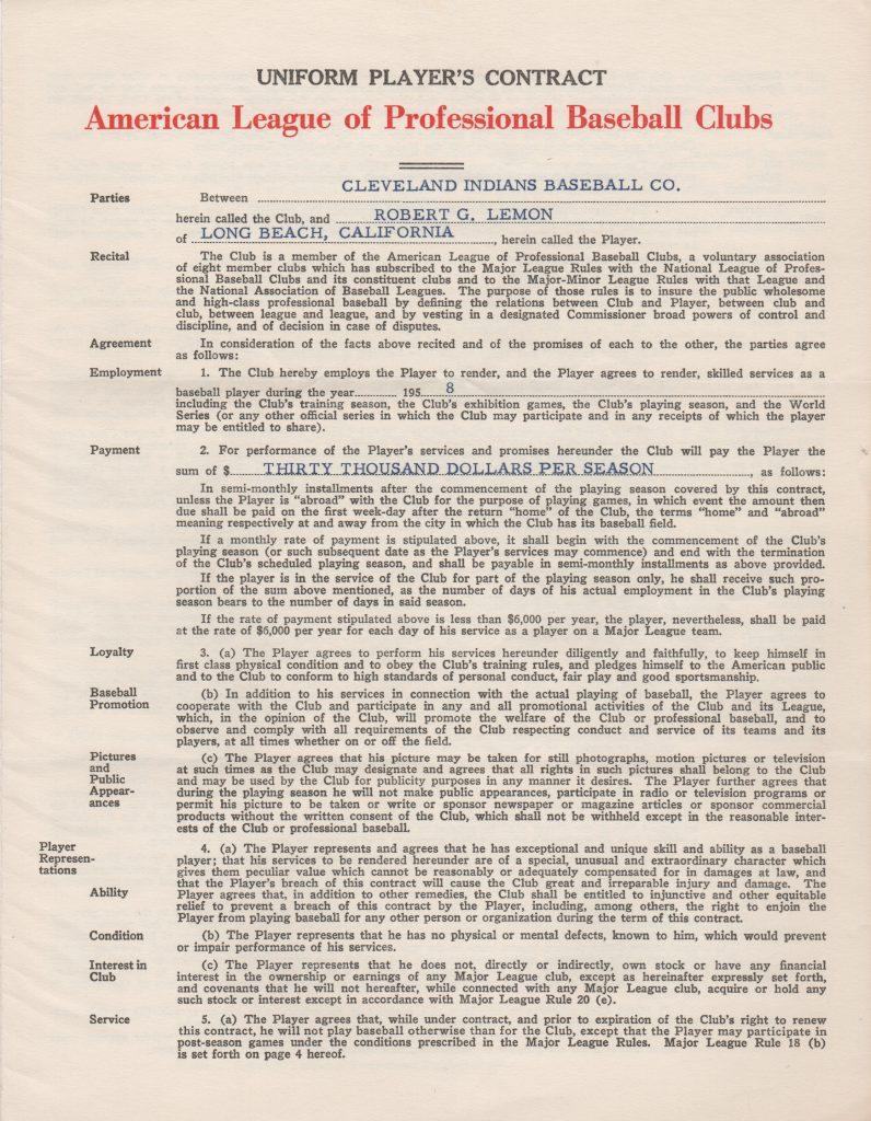 Page 1 of Lemon's 1958 player's contract