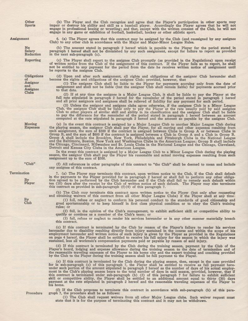 Page 2 of Lemon's 1958 player's contract