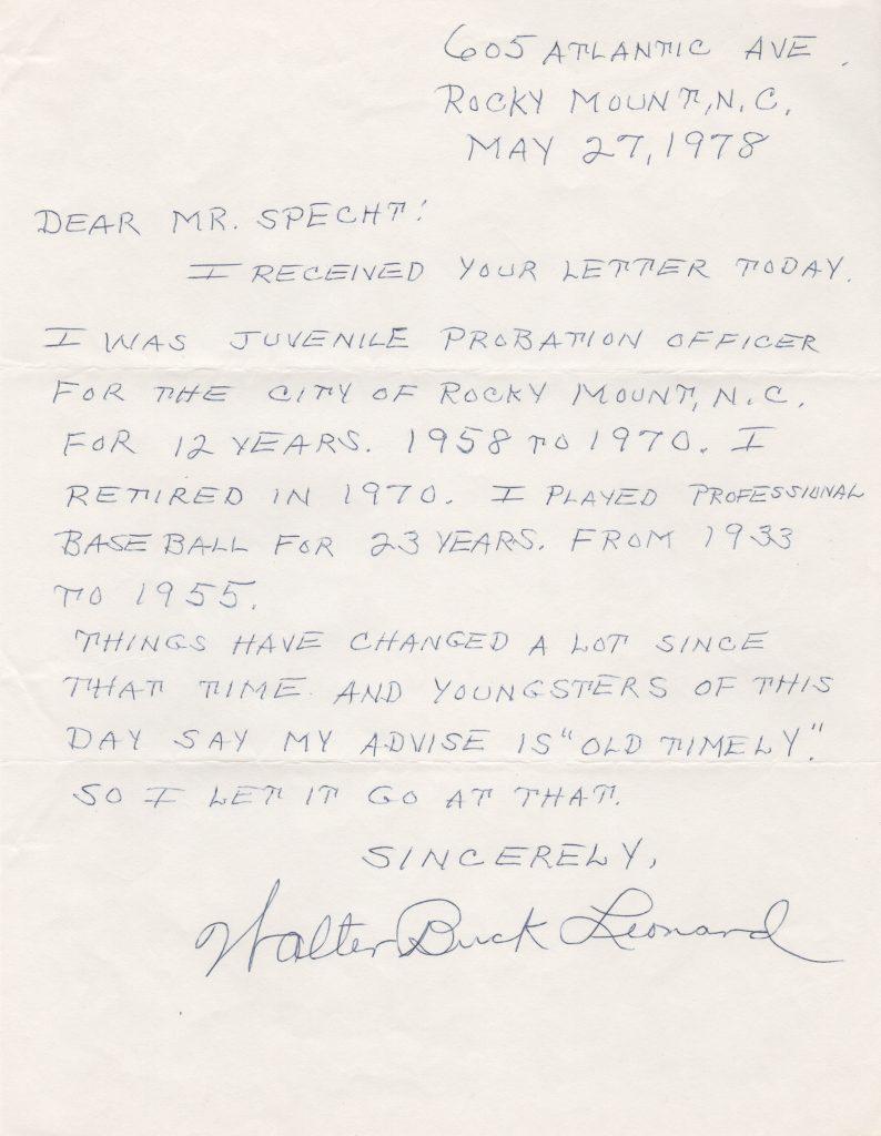 Buck Leonard handwritten letter from 1978