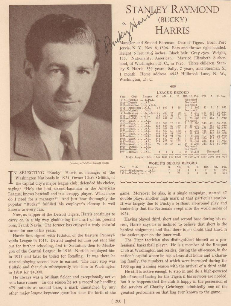1933 Who's Who in Baseball page signed by Harris