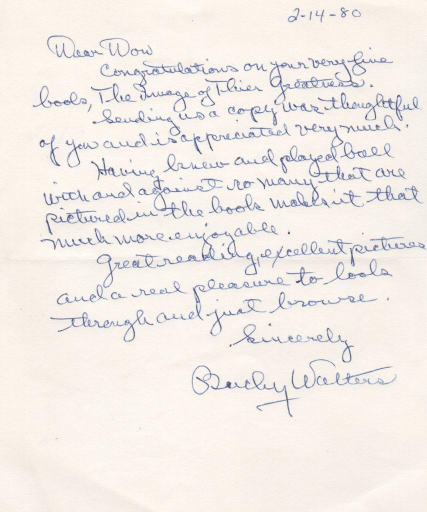 Bucky Walters handwritten letter from 1980