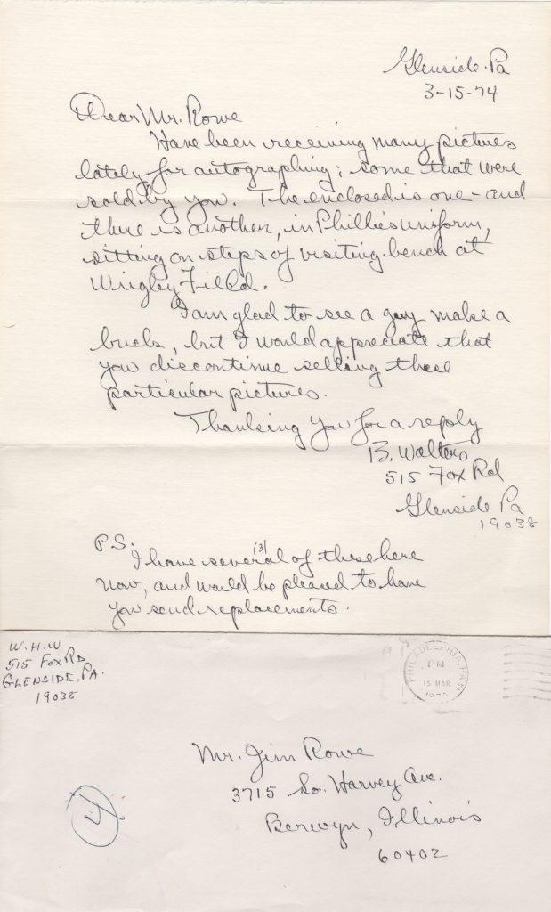 1974 handwritten letter to photographer Jim Rowe