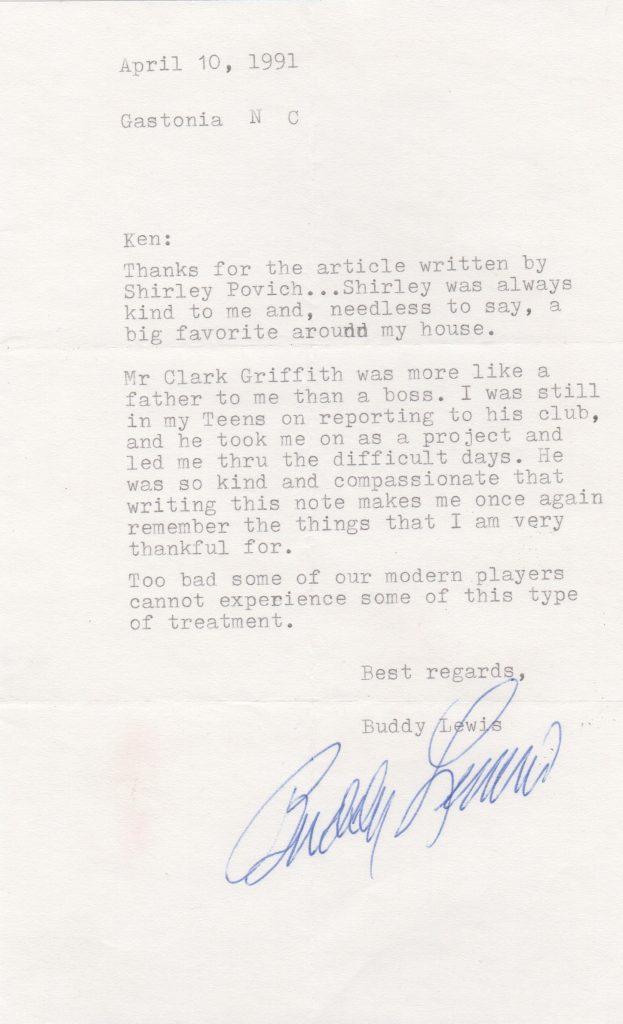 Former Senator Buddy Lewis recalls Clark Griffith