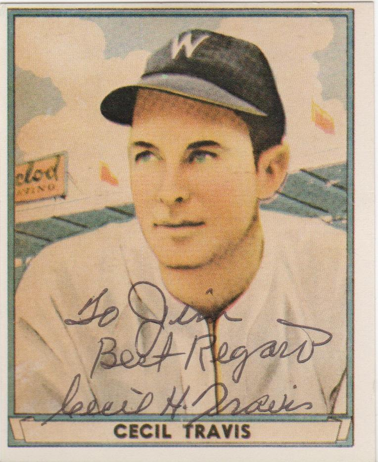 Cecil Travis autographed 1941 Playball reprint card
