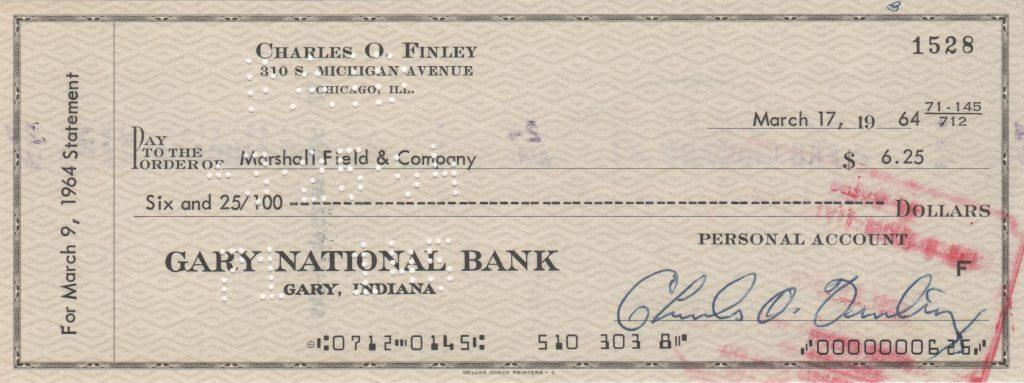 Personal check signed by A's owner Charlie Finley