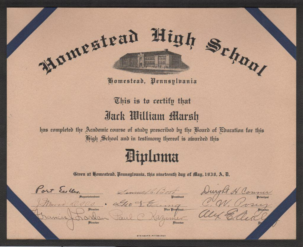 Homestead HS diploma autographed by Cum Posey as director