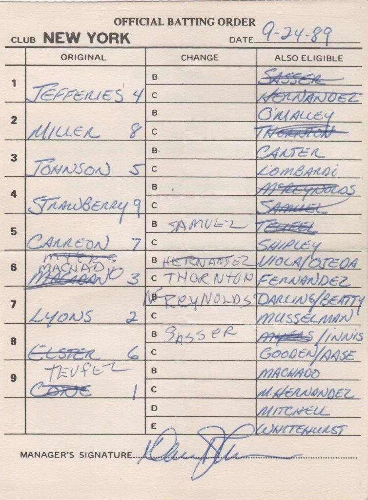 Davey Johnson's lineup card from 9/24/89 as Mets skipper