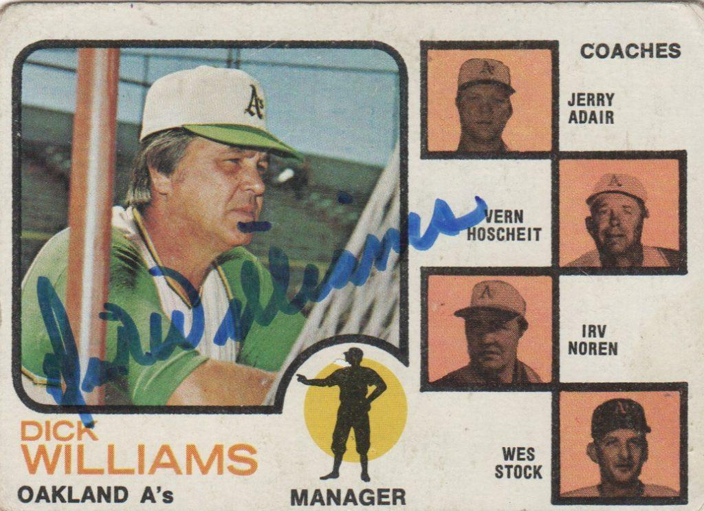 Autographed 1973 Dick Williams card