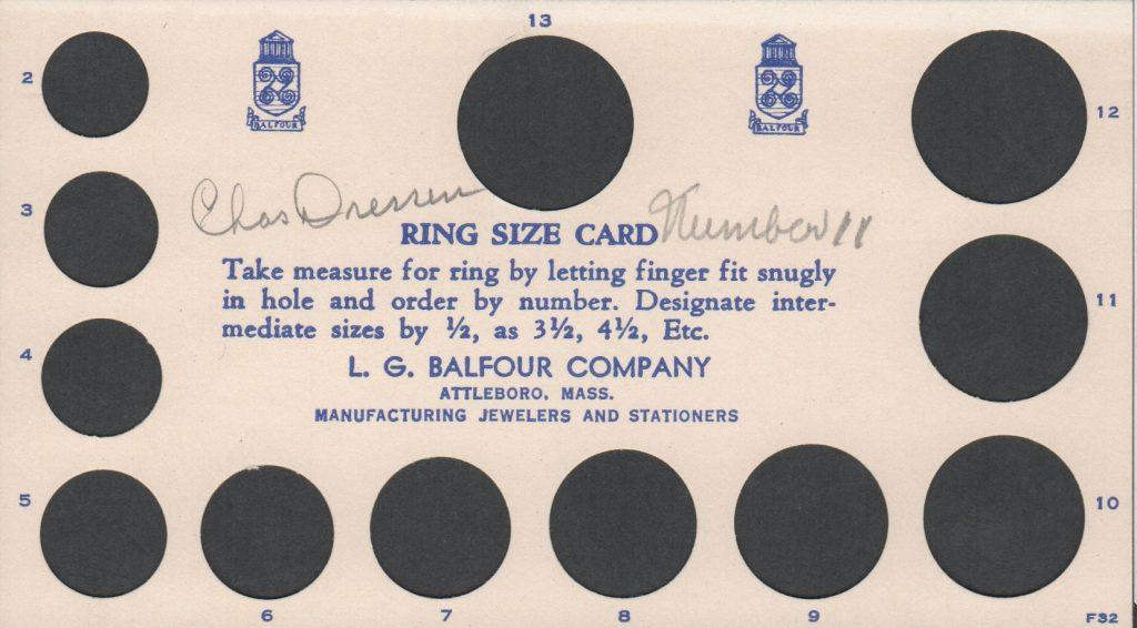Ring size card for Dodgers 1959 World Series rings