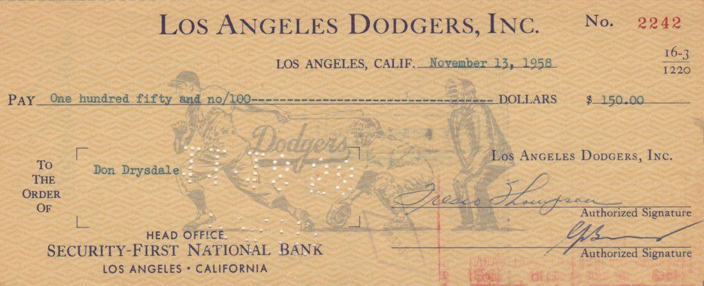 Dodger check made out to Don Drysdale in 1958