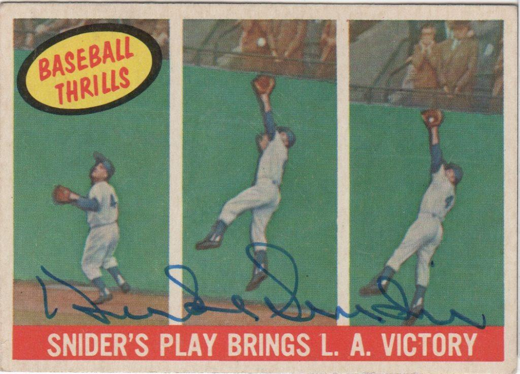 1959 autographed Duke Snider baseball card