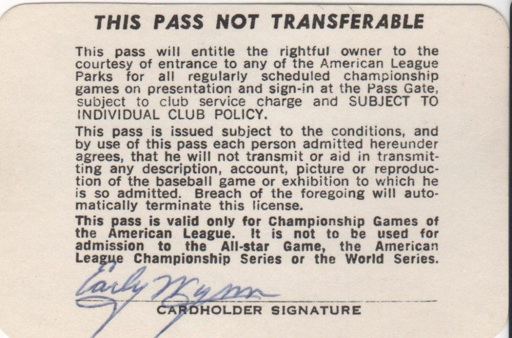 Wynn signed the back of his 1984 AL season pass