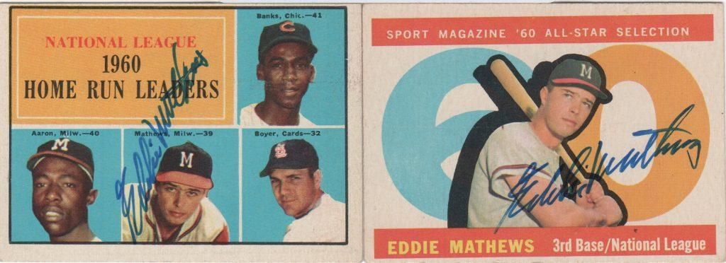A pair of 1960 autographed Topps cards