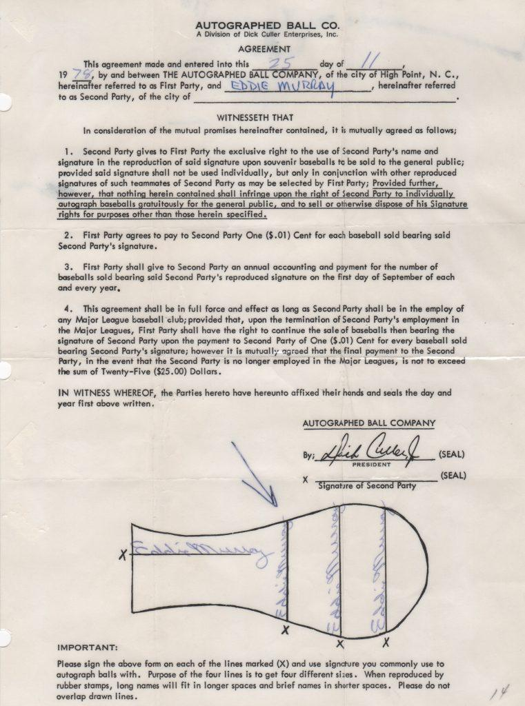 Autoball contract signed by Murray on November 25, 1978