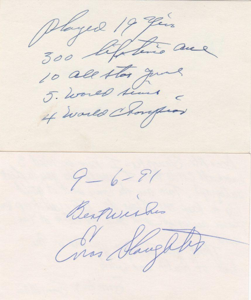 Enos Slaughter 3x5 cards with inscription
