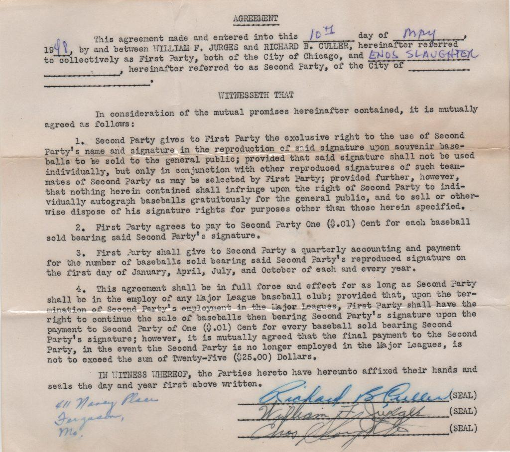 1948 Autoball contract signed by Enos Slaughter