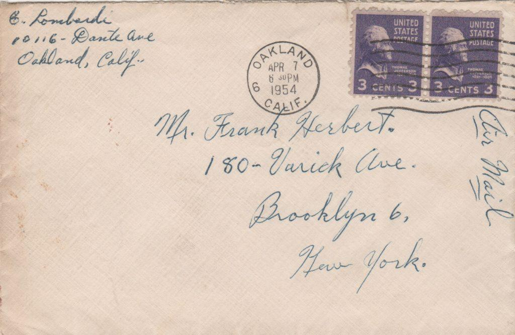 Envelope for the letter with autograph and postmark