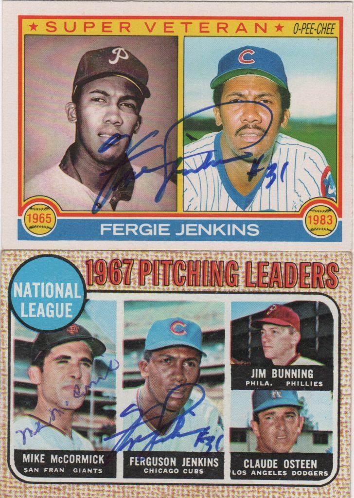 A pair of Fergie Jenkins autographed Topps cards