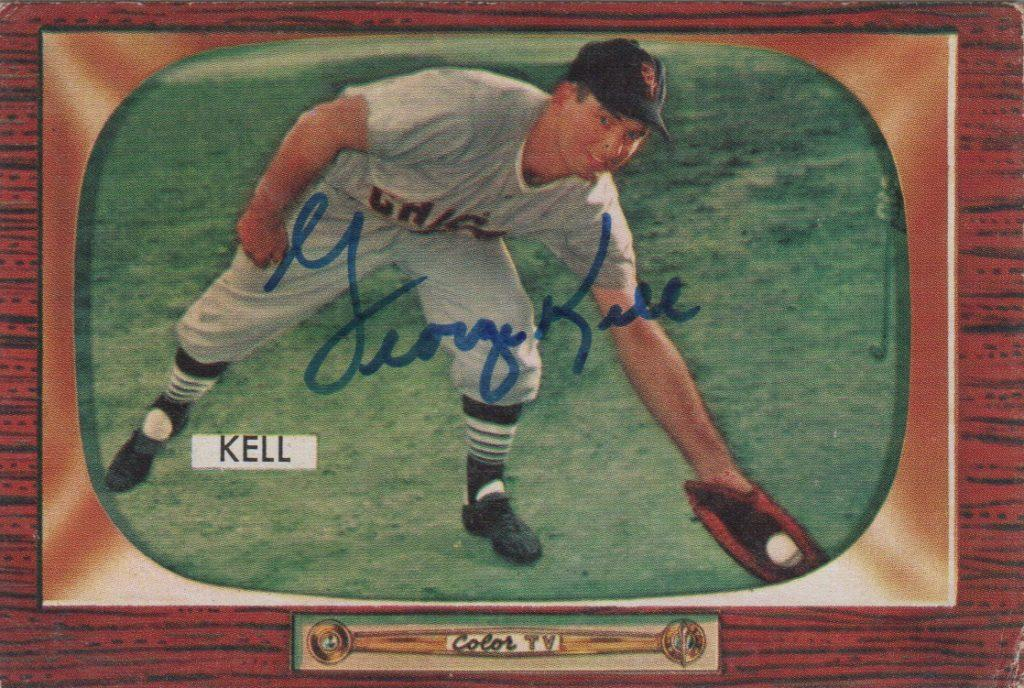 Autographed George Kell 1955 Bowman baseball card