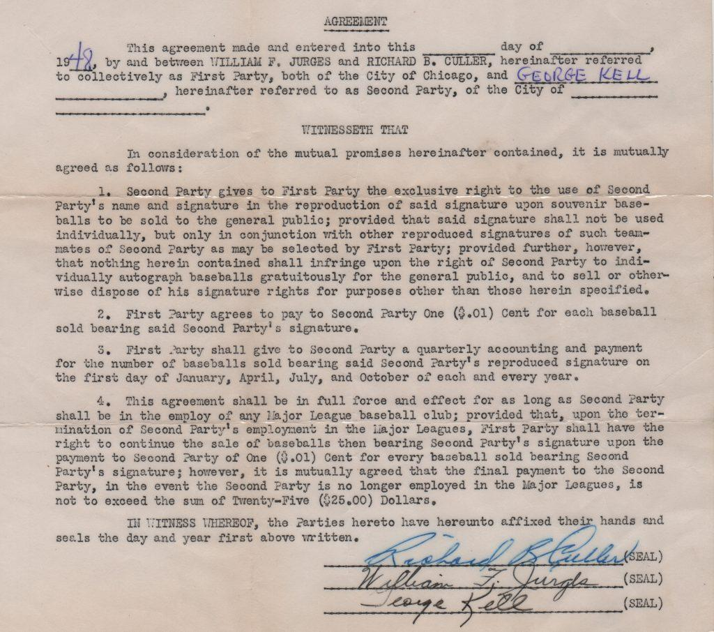 George Kell autoball contract from 1948