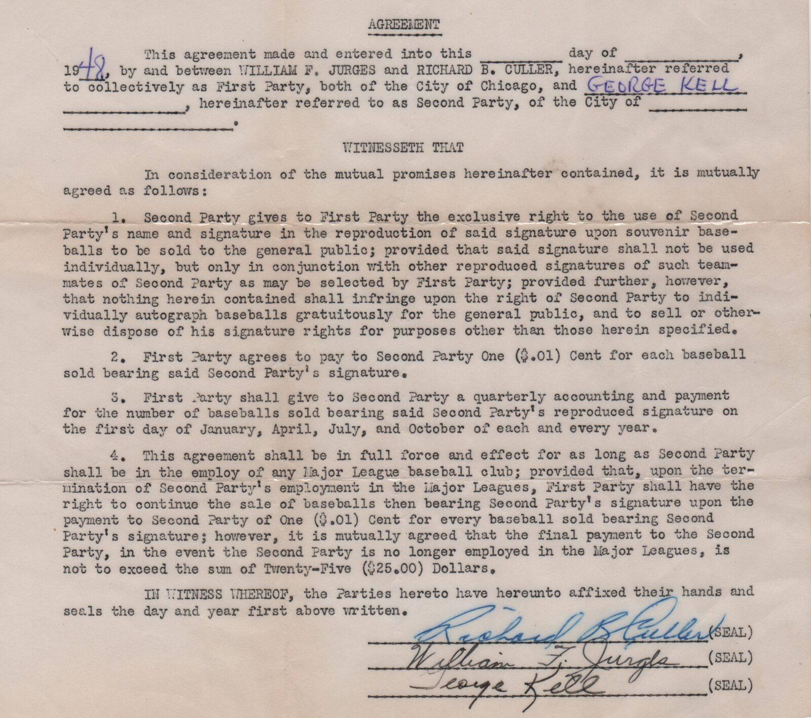 george kell cooperstown expert george kell autoball contract from 1948