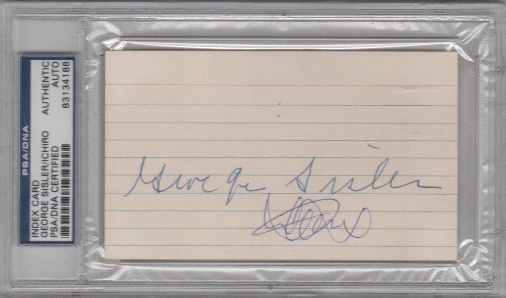 George Sisler and Ichiro Suzuki signed 3x5