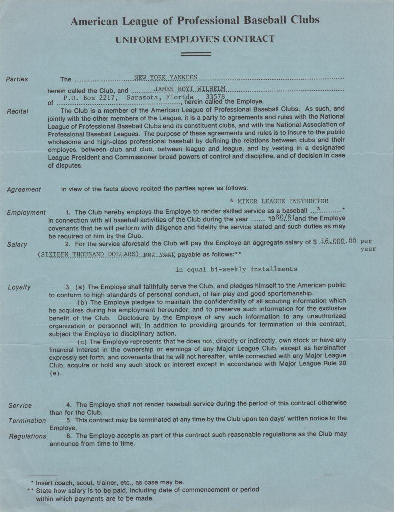NYY 1980/81 Minor League instructor contract