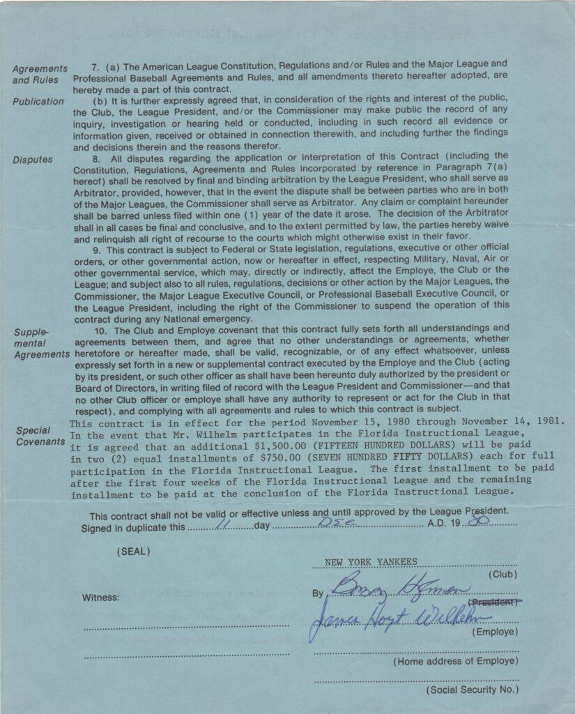 Signature page of 1980/81 NYY contract
